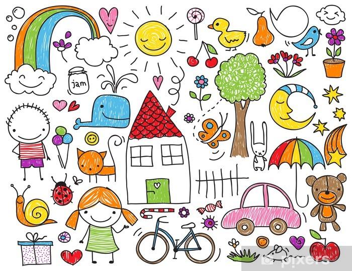 Children's doodle Pixerstick Sticker - Children