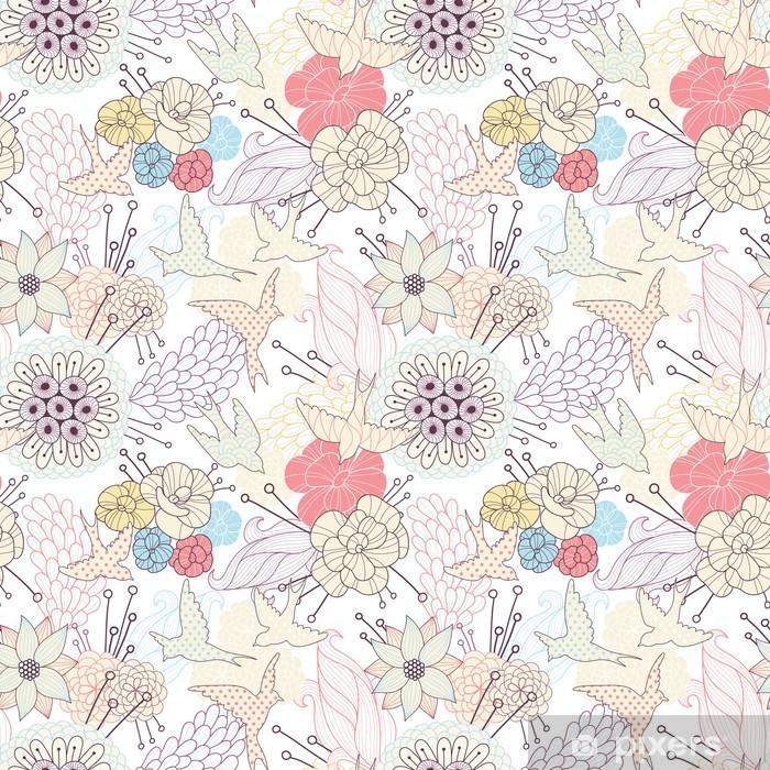 Naklejka Pixerstick Powtarzalne kwiatowy wzór - Tła