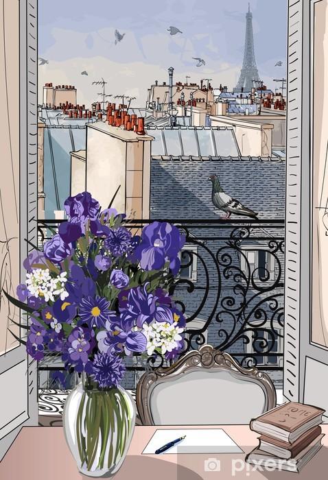 Papier Peint Fenetre Ouverte Sur Les Toits De Paris Pixers Nous