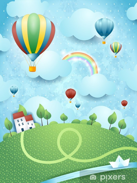 Fotomural Estándar Paisaje de fantasía con los globos de aire caliente y el río - Paisajes