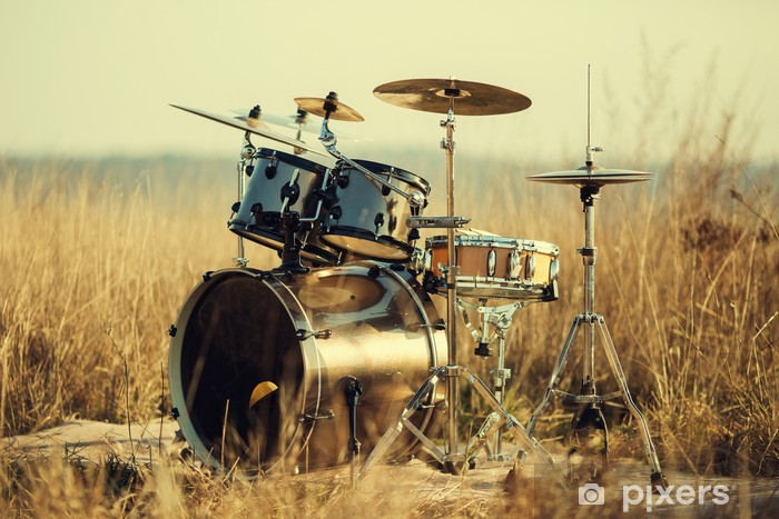 Drum set on fresh air Vinyl Wall Mural - Music