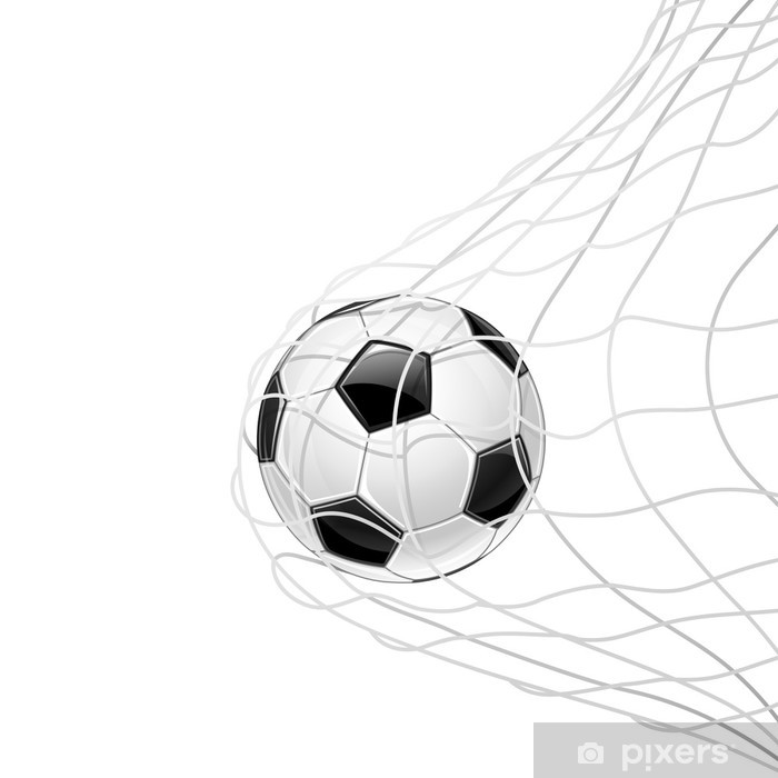Soccer ball in grid isolated. Vector Pixerstick Sticker - Matches and Competitions