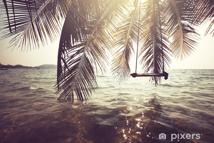Vinil Duvar Resmi Tropikal plaj -