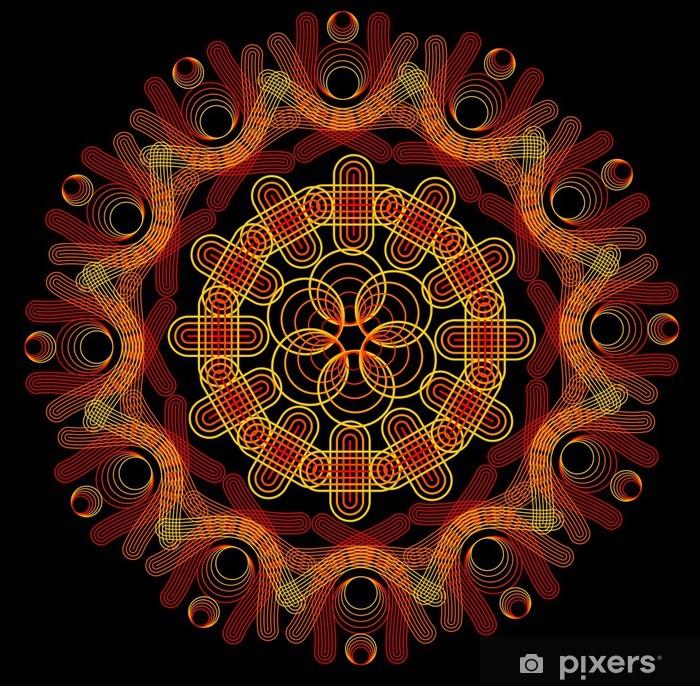 Vinyl-Fototapete Feuer-Mandala auf einem dunklen Hintergrund - Hintergründe