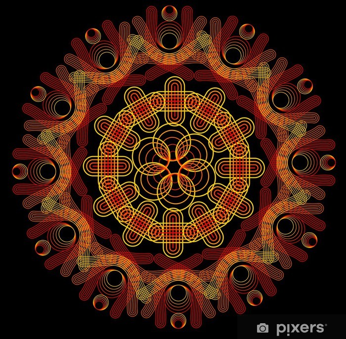 Naklejka Pixerstick Mandala ognia na ciemnym tle - Tła