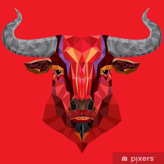 Papier Peint Tete De Taureau Rouge Avec Motif Geometrique Vector