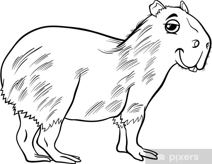Fotomural Estándar Dibujo Para Colorear De Dibujos Animados De Animales Carpincho