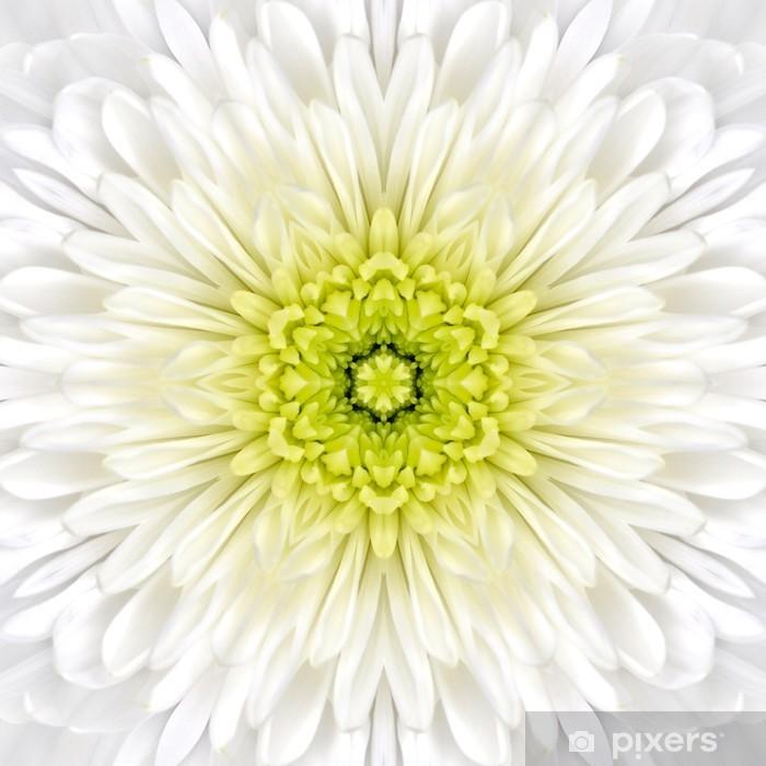 White Mandala Concentric Flower Center Kaleidoscope Pixerstick Sticker - Textures