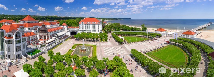 Carta da Parati in Vinile Panorama di Sopot con molo sul Mar Baltico, la Polonia - Temi