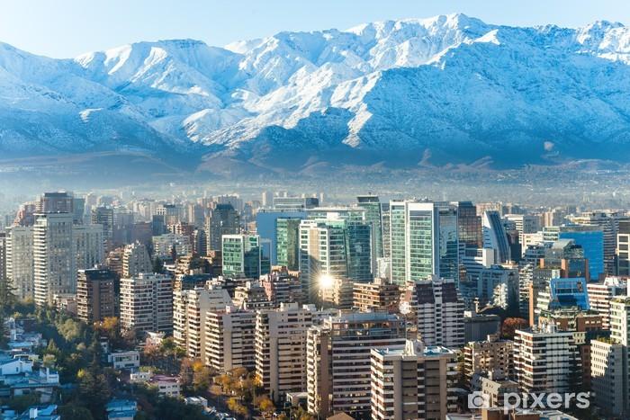 Fotomural Estándar Santiago paisaje urbano blanco - Urbano
