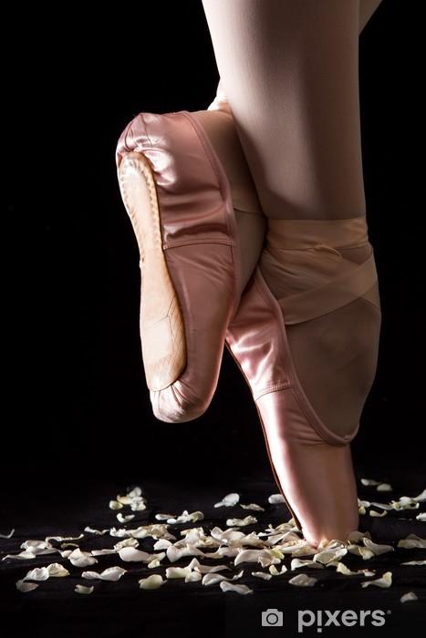 Fotomural Estándar Una bailarina de ballet de pie sobre los dedos del pie en los pétalos de rosa con backg negro - Moda