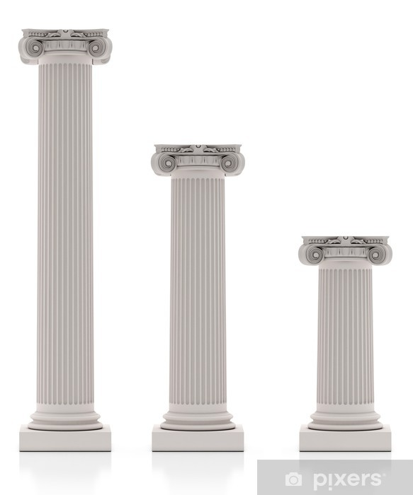 Fototapeta winylowa Greckie Kolumny trzy wielkości, samodzielnie na białym tle - Koncepcje biznesowe