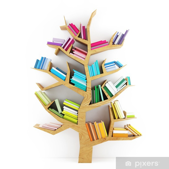 Tree of Knowledge, Wooden Shelf with Multicolor Books Isolated Framed Poster - iStaging