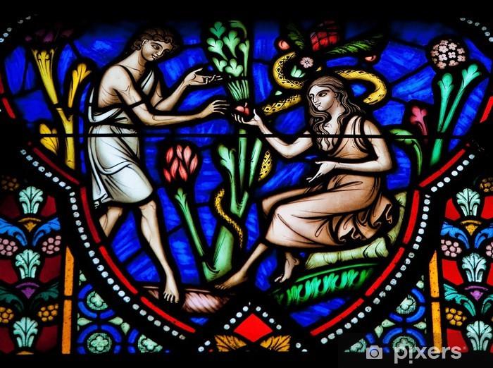Papier peint vinyle Adam et Eve dans le Jardin d'Eden - vitrail - Religion