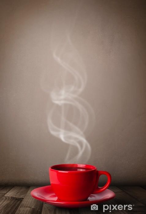 Fototapeta winylowa Filiżanka kawy z abstrakcyjne białej pary - Tematy