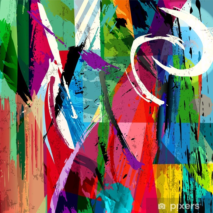 abstract background composition, with paint strokes, splashes an Pixerstick Sticker -
