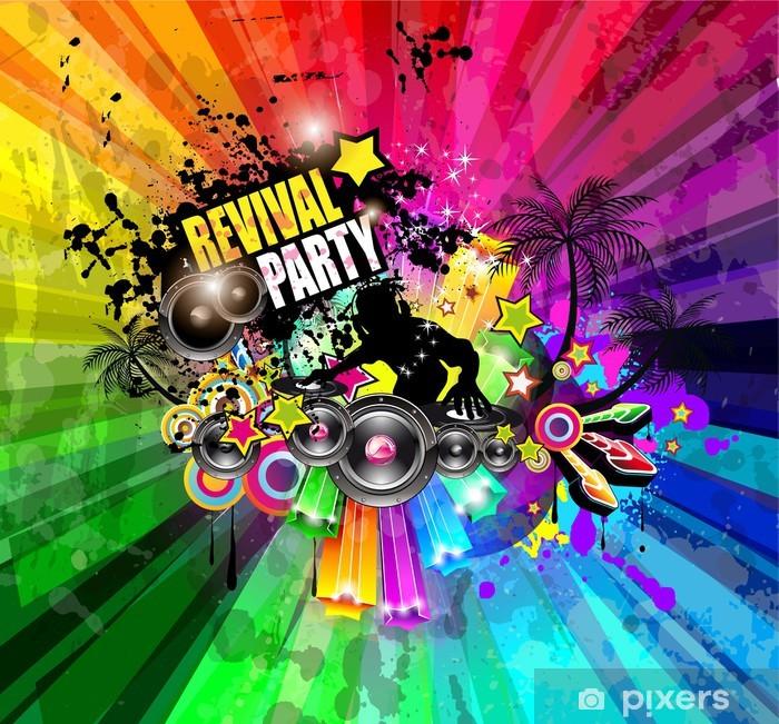 Plakat Impreza klub ulotki dla imprezy muzycznej z eksplozją kolorów - Rozrywka
