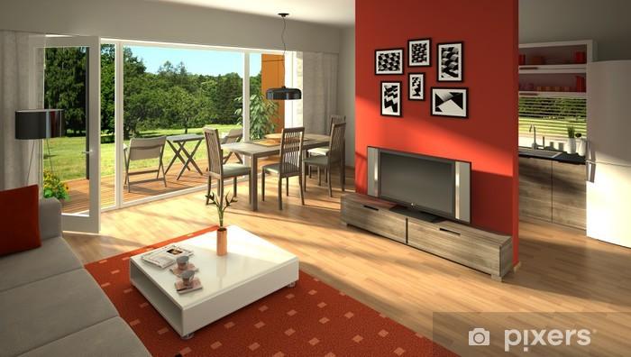 Fototapete Rendering von einem modernen Wohnzimmer mit offener Küche