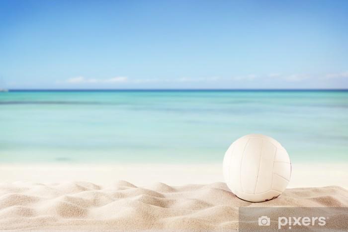 Vinilo Pixerstick Playa del verano con la bola del voleibol - Voleibol