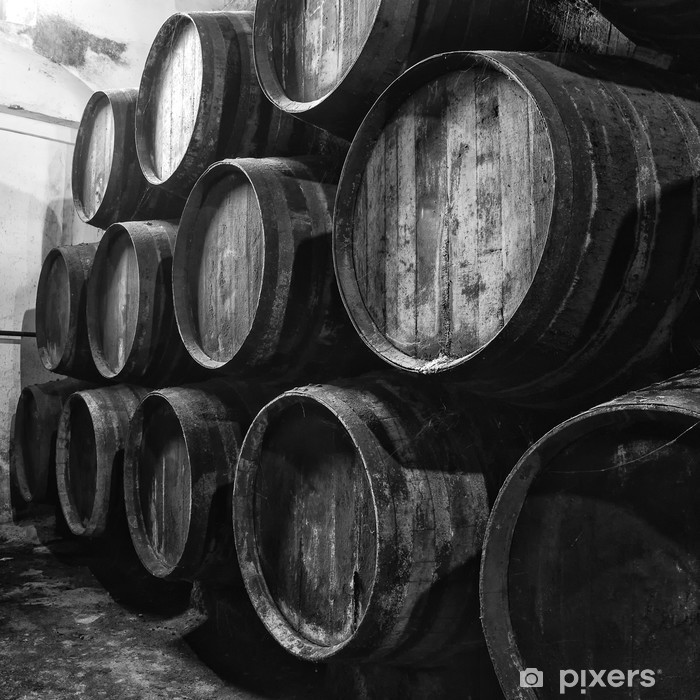 Wine barrels in black and white Vinyl Wall Mural -
