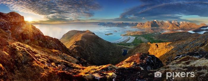 Papier peint vinyle Norvège Paysage panoramique avec vue mer et montagne - Lofoten - Thèmes