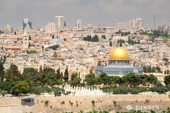 Vinilo Pixerstick Jerusalén paisaje visto desde el Monte de los Olivos. - Oriente Medio