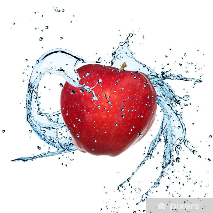 Fresh red apple with water splash Pixerstick Sticker - Wall decals