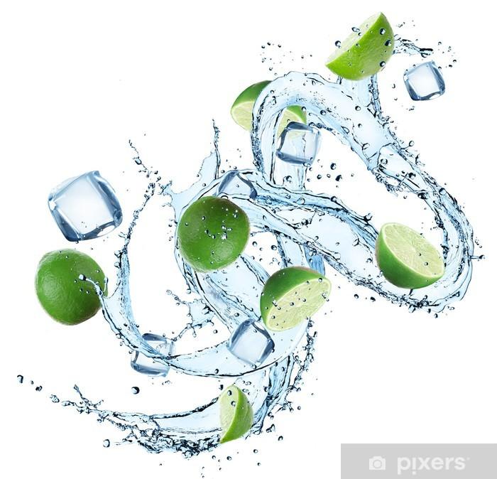 Papier peint vinyle Limes avec les projections d'eau - Repas