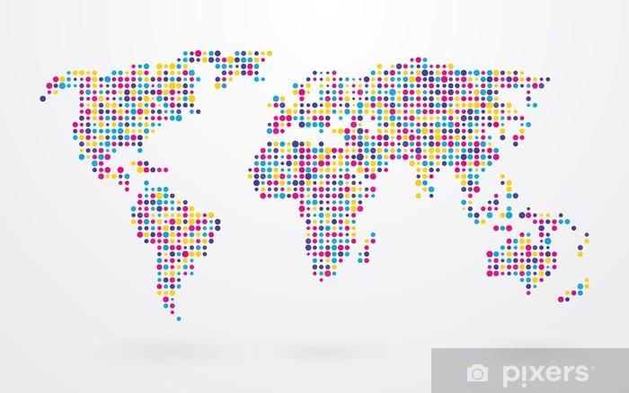 world map made ​​up of small colorful dots Pixerstick Sticker - Styles