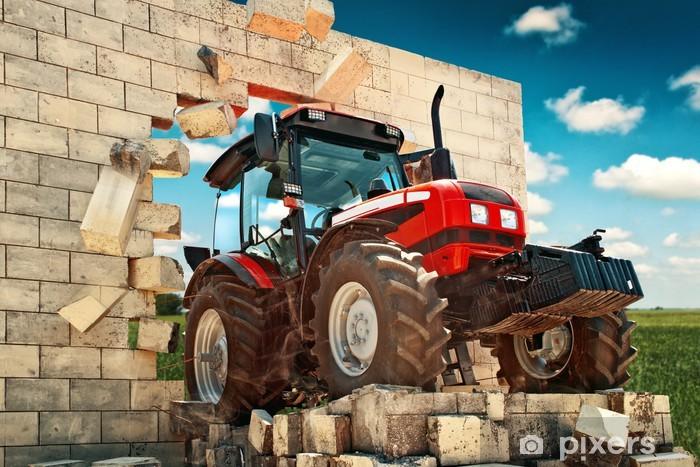 Fotomural Estándar Marca nuevo tractor romper a través de la pared - Temas