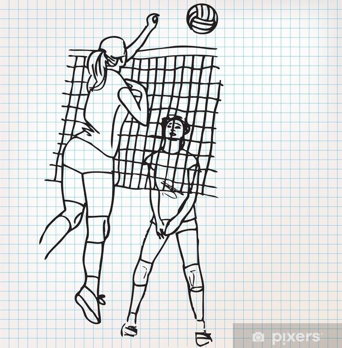 Naklejka Pixerstick Dziewcząt gry w siatkówkę ilustracji szkic - Siatkówka