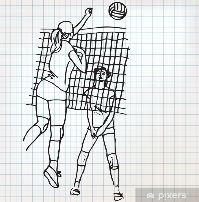 Sticker Pixerstick Les filles jouent au volley-ball croquis illustration - Volley-Ball
