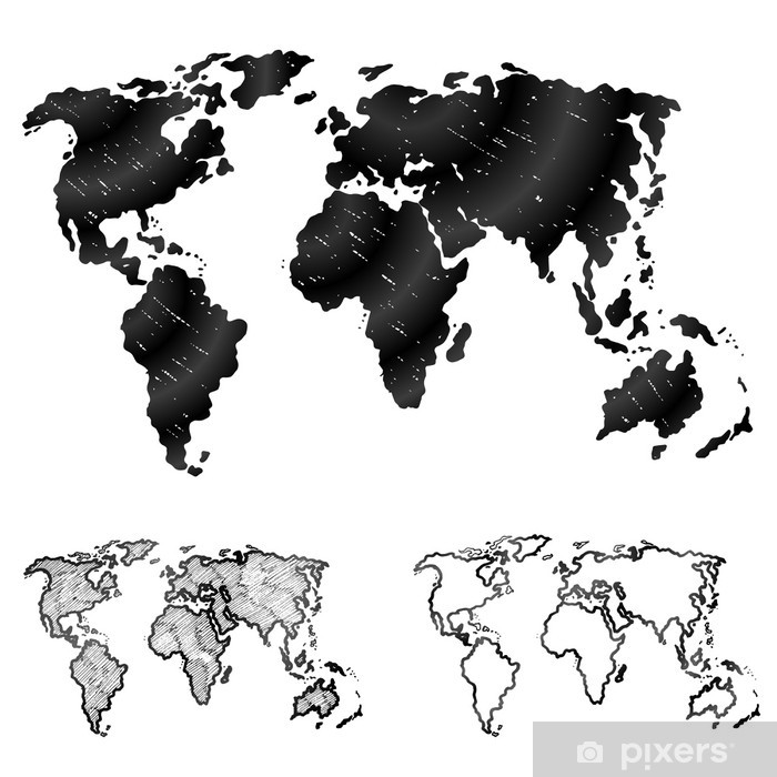 Hand drawn world map in three versions. Sketch of global map Wall Mural -  Vinyl