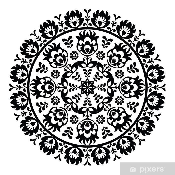 Polish folk art pattern in circle - wzory lowickie, wycinanki Poster - Wall decals