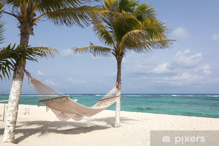 Pixerstick Sticker Idyllische strand met kokospalmen en hangmat op Mexico - Amerika