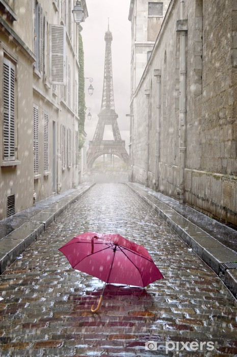 Naklejka Pixerstick Romantyczna uliczka w deszczowy dzień. - Tematy
