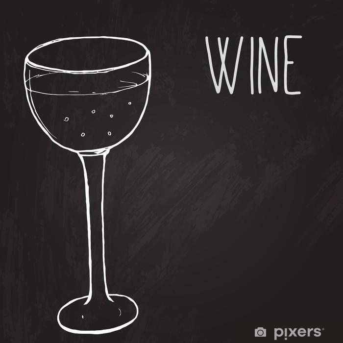 Poster Un verre de vin. Vector illustration esquissé au tableau noir