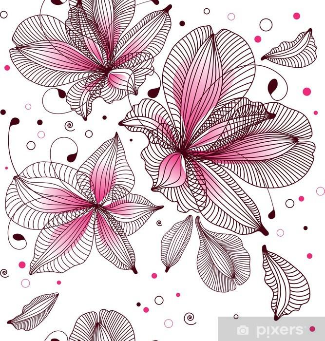 Sticker Pixerstick Seamless floral. Vector illustration. - Arrière plans