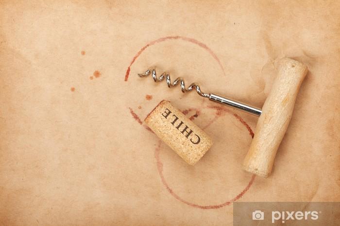 Pixerstick Sticker Kurk en kurkentrekker met rode wijn vlekken - Alcohol