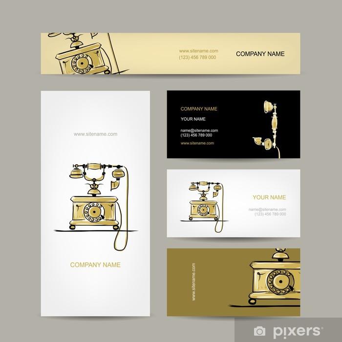 Aufkleber Retro Telefon Set Von Visitenkarten Für Ihr Design Pixerstick