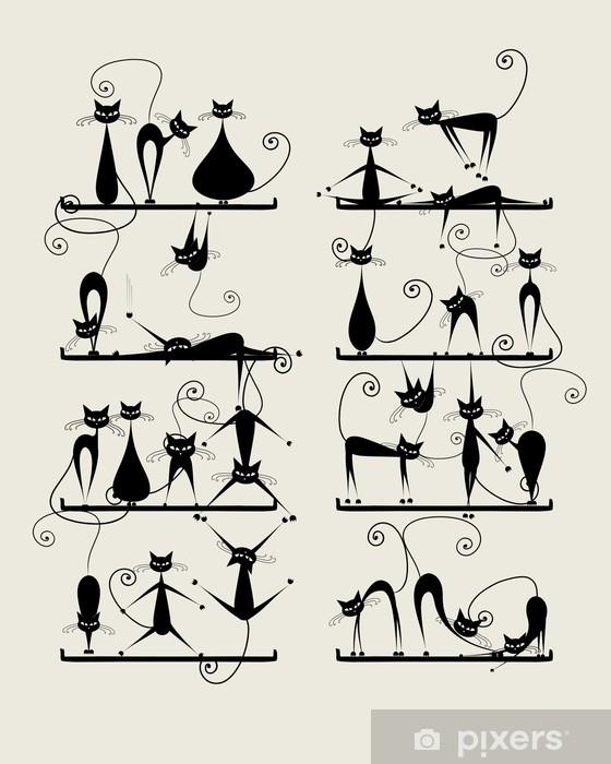 Naklejka na lodówkę Śmieszne czarne koty na półkach do projektowania - Ssaki