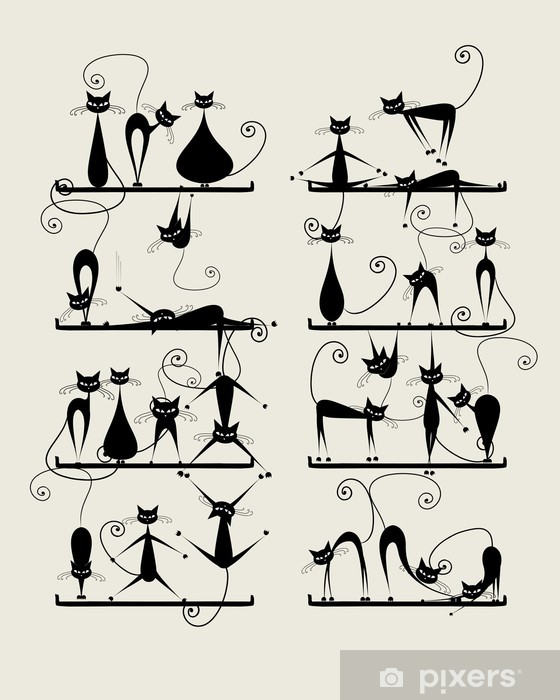 Vinilo para Nevera Gatos negros divertidos en los estantes para su diseño - Mamíferos