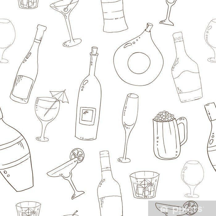 Fototapeta winylowa Wina i koktajlowe bez szwu. - Alkohol