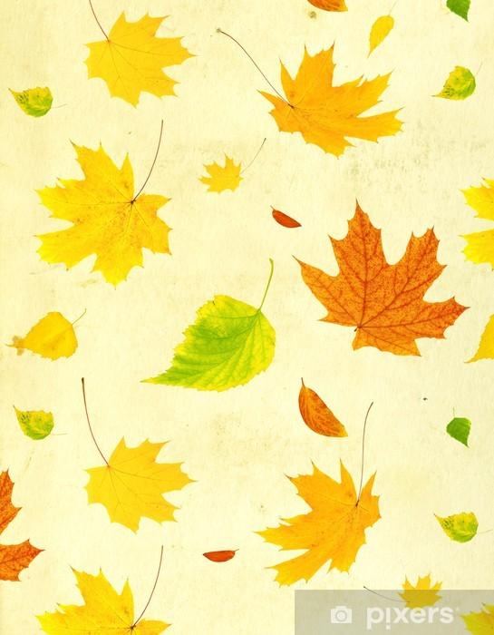 Pixerstick Sticker De achtergrond van Grunge met vliegende herfstbladeren - Achtergrond