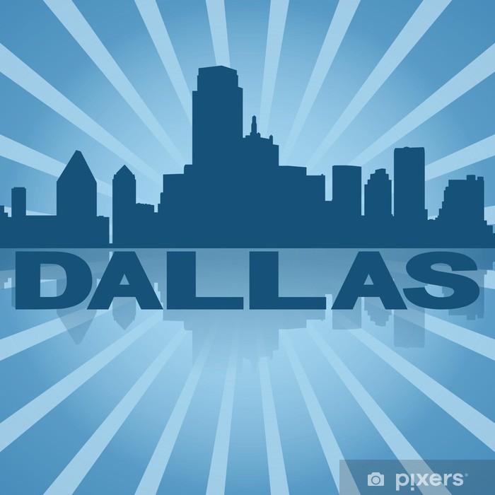 Poster Dallas Skyline spiegelt mit blauen Sunburst illustration -