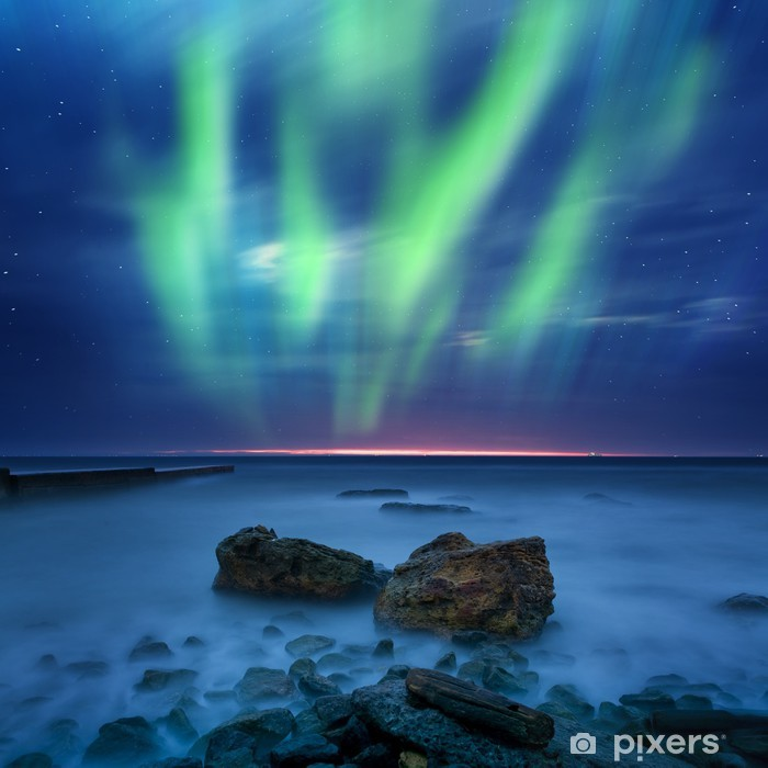 aurora borealis over the sea Poster - Themes