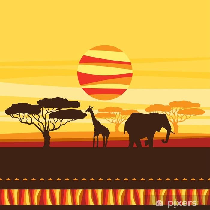 Papier peint vinyle Origine ethnique africaine avec l'illustration de la savane. - Asie