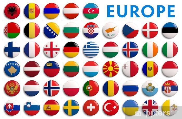 Fototapeta winylowa Europa flagi hrabstwa - 3d realistyczne - Znaki i symbole