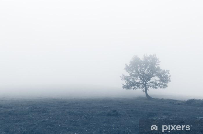 Carta da Parati in Vinile Albero solitario con la nebbia - Panorami