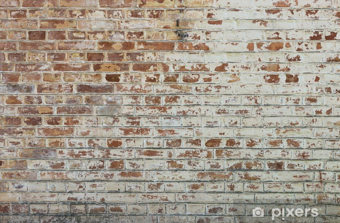 Background of old vintage dirty brick wall with peeling plaster Fridge Sticker - Themes
